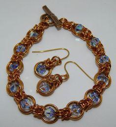 Hand-made Solid Brass Chain Maille & Swarovski bracelet & earrings set