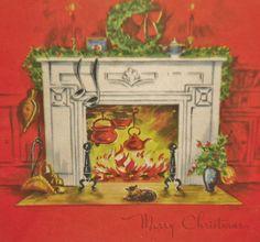 Cat dozes at Christmas fireside.