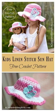 5cb13c7f002 Kids Linen Stitch Sun Hat Free Crochet Pattern  freecrochetpatterns  hat  Crochet Girls
