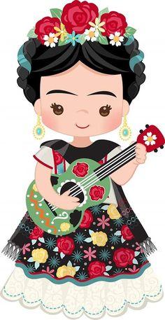 Frida Kahlo Artwork, Frida Art, Frida Kahlo Cartoon, Decoupage Vintage, Mexican Folk Art, Beautiful Girl Image, Belle Photo, Paper Dolls, Cute Art