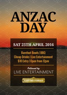 Create an event flyer or poster for Anzac Day or Australia Day without the need for a graphic designer. Check out the huge range of professionally pre-designed posters, flyers and social media graphics that you can update yourself, in minutes. Anzac Day, Australia Day, Social Media Graphics, Diy Design, Entertaining, Templates, Poster, Australia Day Date, Stencils