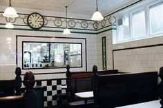 Pie and mash shop: The interior of L Manze, Walthamstow – designed by architect Herbert Wright – has remained unchanged since 1929 London Tours, East London, Jellied Eels, Pie And Mash, Pie Shop, Victorian Bathroom, London History, Urban Industrial, Retail Interior