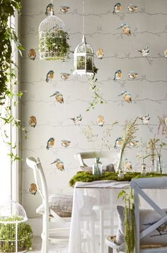 Beautiful British bird wallpaper design by Harlequin called Persico.