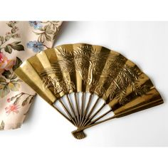 Vintage Brass Oriental Fan by Leonard Silver. Asian Home Decor. Wall... ($24) ❤ liked on Polyvore featuring home, home decor, dragon home decor, silver figurines, dragon figurines, bird figurines and brass figurines