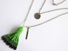 Items similar to Green beaded tassel earrings necklace set, Oscar de la Renta style, light green and black color, long tassels inches, multilevel chain on Etsy Beaded Tassel Necklace, Necklace Set, Tassels, Trending Outfits, Unique Jewelry, Handmade Gifts, Etsy, Vintage, Style