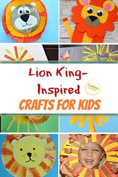 Here are 25 Lion King crafts from Sunshine Whispers you can make to celebrate the new movie! These Lion King-inspired crafts are a perfect way to celebrate any and all things Lion King. Find one or more of these lion-inspired crafts that you would like to do with your kids. #lioncrafts #lionking #craftsforkids #kidscrafts #easycrafts Disney Crafts For Kids, Crafts For Kids To Make, Disney Diy, Toddler Crafts, Kids Crafts, Lion King Crafts, Lion Craft, Toilet Paper Roll Crafts, Paper Plate Crafts