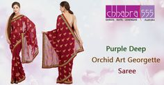 Visit ‪Chhabra555‬ ‪‎online‬ ‎store‬ and select Purple Deep Orchid Art Georgette Saree @ $81.95 AUD in ‪Australia‬. For Bulk orders at special prices write to us at customercare@chhabra555com.au or call us at 1800 289 555