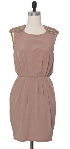 Pearl Cluster Taupe Dress   chloelovescharlie.com