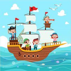 Grupo de piratas de dibujos animados en ...   Premium Vector #Freepik #vector #arbol #personas #agua #ninos Cartoon Pirate Ship, Homemade Pirate Costumes, Doodle, Pirate Crafts, Whitewater Kayaking, Canoe Trip, Pirate Birthday, Cute Images, Motion Design