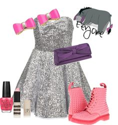 """""""Eeyore"""" by jess-d90 ❤ liked on Polyvore. I don't like the boots, but everything else is really cute"""