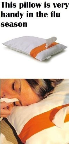 Awesome genius invention - this pillow with a built-in tissue pocket in handy in the flu season... Good for allergies too! #product_design