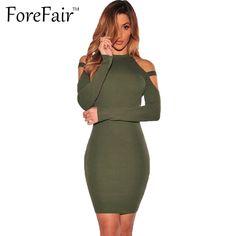 Forefair 가을 겨울 섹시한 오프 숄더 클럽 파티 드레스 2016 여성 긴 소매 코튼 탄성 캐주얼 bodycon dress