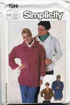 Simplicity Sewing Pattern 7699 Misses, Mens & Teen Boys Very Loose-fitting Tops in 2 Lengths Used