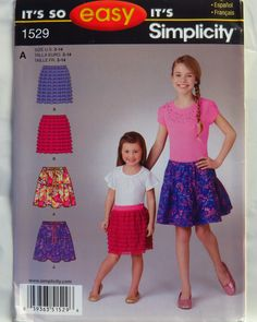 Simplicity 1529 Child's and Girls' Pull on Skirts