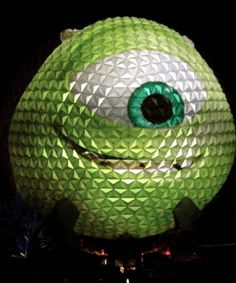 Animated GIFs of Mike Wazowski projection on Epcot Ball to announce Disney Parks will be open 24 hours on May 24th 2013.