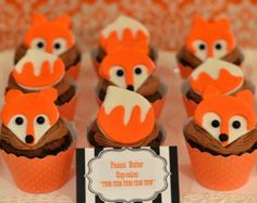 Fondant Foxes Cupcake Toppers 12 (one dozen) Set includes 6 Fox faces and 6 Fox Tails. by prettypartydetails. Explore more products on http://prettypartydetails.etsy.com