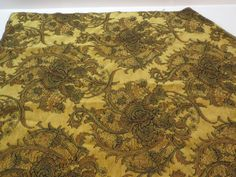 """The #Peacock #Collection  Romanoff  Gold  Fabric #Sample  25"""" x 31""""   85% Rayon 15% Polyester                      + FREE SAMPLES!!! #fabric #supplies #floral #flowers #sample #collection #seamist #fabricsamples10 #peacock #romanoff #gold"""