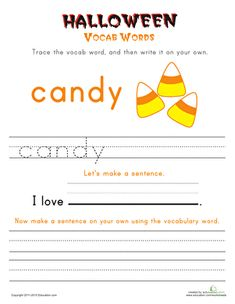 Halloween First Grade Building Sentences Vocabulary Worksheets: Halloween Vocab Words: Candy