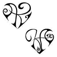 Tatuaggio di Cuore K+A, Unione, amore tattoo - TattooTribes.com