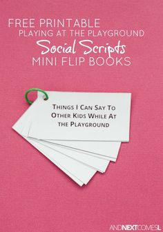 Free printable playground social scripts for kids with autism or hyperlexia from And Next Comes L