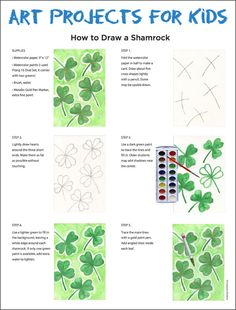 How to draw a Shamrock. PDF Tutorial available. #artprojectsforkids #shamrock