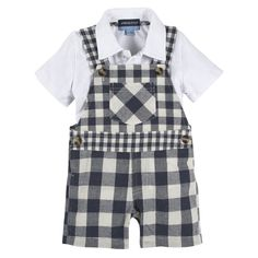 Navy Gingham Overall with White Polo