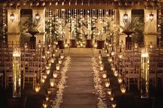 Beautiful candle lit wedding ceremony with tulle, ribbons and flower petals. Wedding Ceremony Ideas, Wedding Aisles, Mod Wedding, Wedding Venues, Wedding Ceremonies, Trendy Wedding, Church Wedding, Fall Wedding, Perfect Wedding