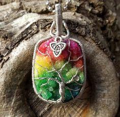Tree of Life Pendant covering Vivid Rainbow by TheSleepyFirefly, $58.95