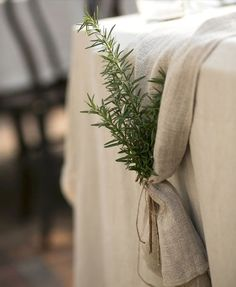 Rosemary. . . .I love the smell.   What a great Thanksgiving Day table runner.