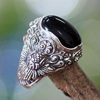 Men's onyx ring, 'Black Sunflower'