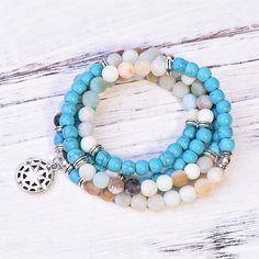 Natural 108 Turquoise & Amazonite River Mala  😍💚💙  #paybackgift #amazonite #turquoise #jewelry #mala #necklace #bracelet Beaded Necklace, Turquoise, River, Gemstones, Beads, Pendant, Natural, Bracelets, Beautiful