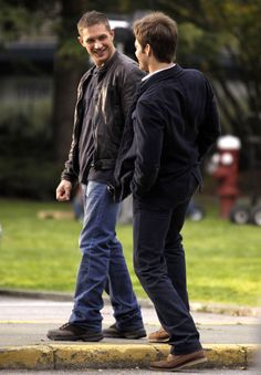 Actors Tom Hardy and Chris Pine filming scenes for 'This Means War' in Vancouver, Canada. Tom was seen shadowboxing and said he was training for Justin Bieber.
