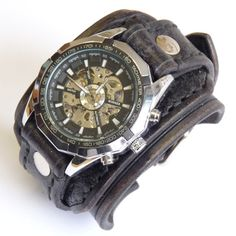 Leather Men's Watches,  Leather Watch Cuff,  Men's leather cuff, Men's Wrist Watch, Retro Watch