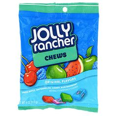 Munch on long-lasting Jolly Rancher® Chews and enjoy the same fruit flavors as their hard candy cousins. bag of Jolly Ranchers Chews. Jolly Rancher Chews, Jolly Rancher Hard Candy, Chocolate Covered Raisins, Gum Flavors, Fruit Chews, Candy Brands, Chewy Candy, Sour Candy, Favorite Candy
