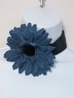Recycled Blue Demin Choker Necklace with Large Denim Flower, Blue Flower Choker, Flower Choker, Denim Flower Choker, Wide Choker Necklace, by ReigningCrownBeads on Etsy