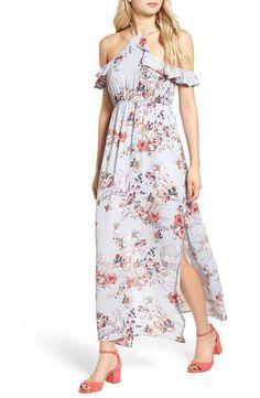 One Clothing Floral Cold Shoulder Maxi Dress