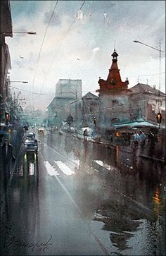 Dusan Djukaric, Rainy Day, Watercolour, 55x36cm