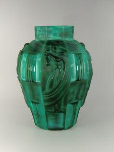 Bohemian Czech Curt Schlevogt Art Deco Jade Malachite Glass Vase by VintageRetroEu on Etsy
