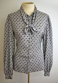 Gray Paisley Secretary Blouse with Bow by citybone on Etsy https://www.etsy.com/listing/185704858/gray-paisley-secretary-blouse-with-bow