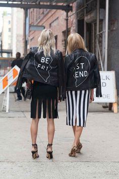 Caroline Vreeland and Shea Marie in Cushnie et Ochs dresses and Veda jackets. Photo: Emily Malan/Fashionista