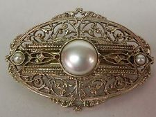 Vintage French Hair Barrette Clip Gold Tone Filigree Faux Pearls Made in France