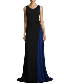 Colorblock+Ruched+Jersey+Gown,+Black/Bluette+by+Armani+Collezioni+at+Bergdorf+Goodman.
