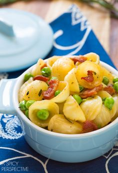 """Simple Orecchiette with Rosemary Bacon and Peas"" 