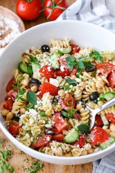 Chickpea Salad - Spend With Pennies Cucumber Pasta Salad, Caprese Pasta Salad, Greek Salad Pasta, Spinach Strawberry Salad, Pasta Salad Italian, Pasta Salad Recipes, Onion Salad, Tomato Salad, Creamy Tuna Pasta