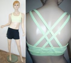 LULULEMON FREE TO BE Neon Yellow Double Strap Exercise Yoga Sports Bra Top 10...http://stores.shop.ebay.com/vintagefluxed