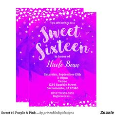Sweet 16 Purple & Pink Girly Trendy Modern Party Card #sweet16  #sweetsixteen  Fun birthday party invites - customize your invitations. #birthdayparty #invites #invitations