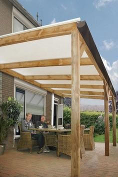 Veranda / overkapping / afdak / terras model Butterfly met afmetingen 300 x 400 cm van Woodvision: Pergola, Outdoor Structures, Outdoor Decor, Home Decor, Homemade Home Decor, Interior Design, Decoration Home, Home Interiors, Arbors