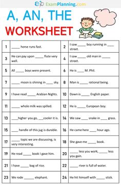 A, An, The Worksheet. We have already learned the definite and indefinite articles (a, an, the) in the previous post. Keep in mind the rules of articles and solve the exercise given here. Articles In English Grammar, Article Grammar, English Grammar For Kids, English Grammar Exercises, Teaching English Grammar, English Lessons For Kids, English Writing Skills, Learn English Words, English Phrases