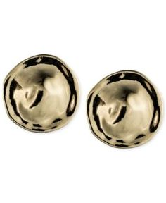 Anne Klein Button Clip-On Earrings - Gold