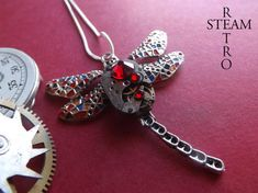 FREE SHIPPING USA ** Steampunk necklace Gaudi Steampunk Libélula Watch Mechanism Pendant Necklace in Red - Steampunk jewelry by Steamretro